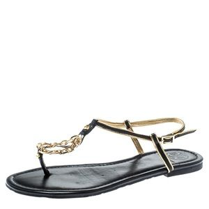 Tory Burch Black Gold Chain Sandals